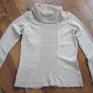 Calvin Klein Beige White Cowlneck Sweater ~ Medium